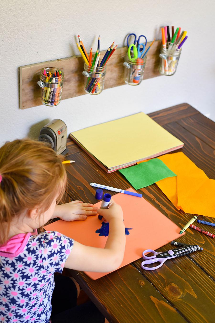 Art Station - DIY Mason Jar Art Supply Organizer - Our Handcrafted Life
