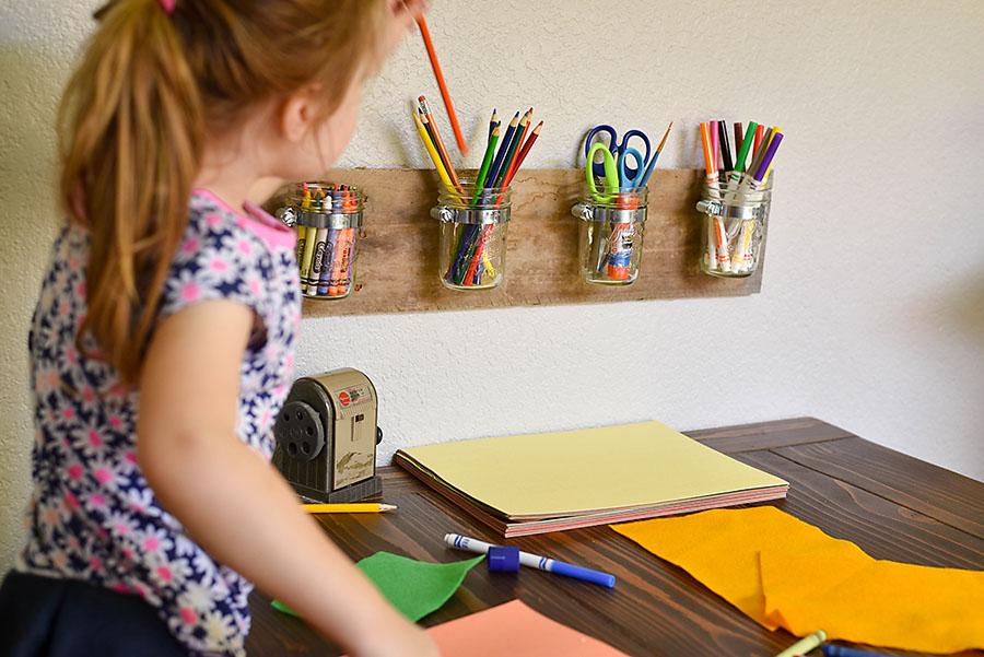Kid's Art Station - DIY Mason Jar Art Supply Organizer - Our Handcrafted Life