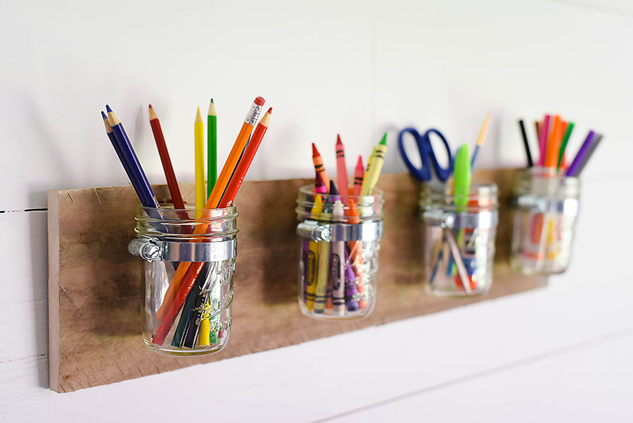 Kid's Craft Corner - DIY Mason Jar Art Supply Organizer - Our Handcrafted Life