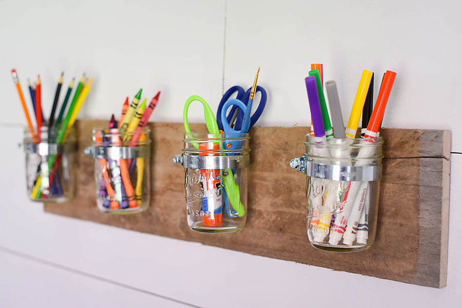 Kid's Art Space - DIY Mason Jar Art Supply Organizer - Our Handcrafted Life