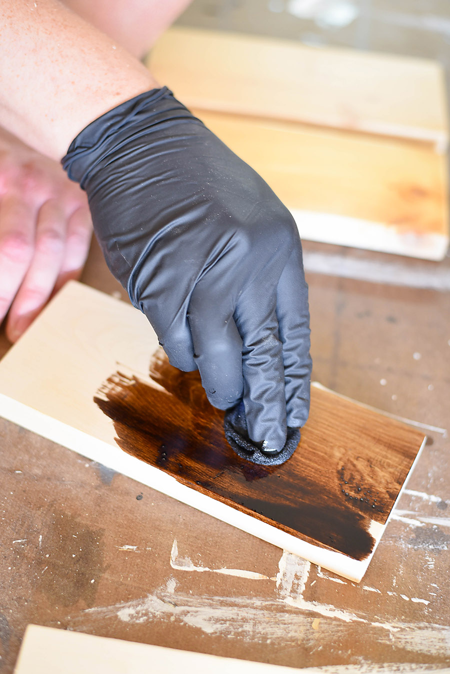 Applying Stain - How to Sand + Stain Wood - Our Handcrafted Life