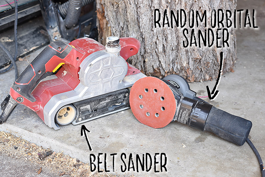 Belt and Orbital Sander - How to Sand + Stain Wood - Our Handcrafted Life