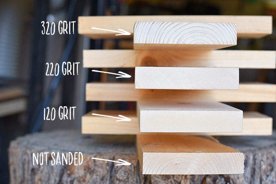 Sanded Wood - How to Sand + Stain Wood - Our Handcrafted Life