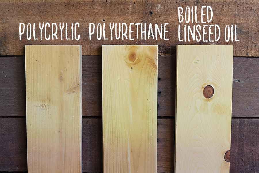 Polyurethane vs Polycrylic vs Boiled Linseed Oil - How to Sand Prep and Stain Wood - A Beginner's Guide to DIY - Our Handcrafted Life