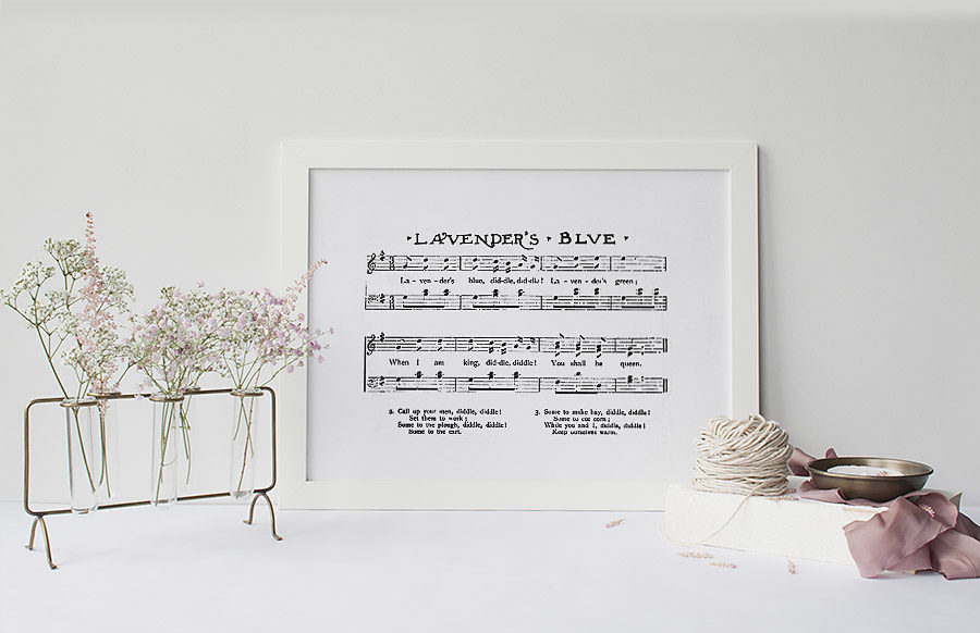 Lavender Blue Sheet Music Girl's Farmhouse Nursery Print - Our Handcrafted Life