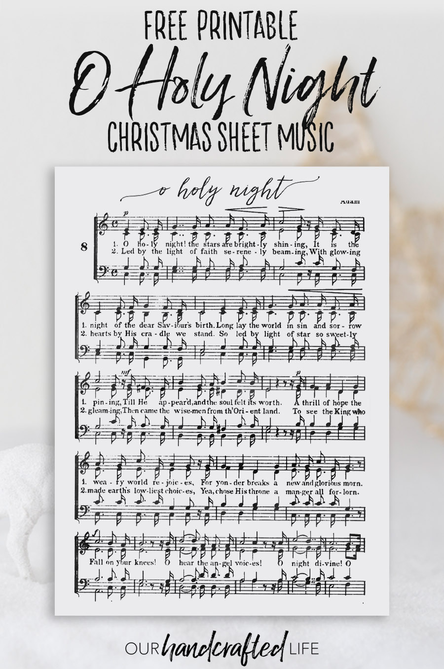 photo regarding Printable Christmas Sheet Music named O Holy Night time - Cost-free Printable Xmas Sheet Audio - Our