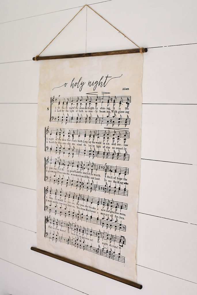 O Holy Night - Tea Stained Vintage Hanging Poster - Our Handcrafted Life