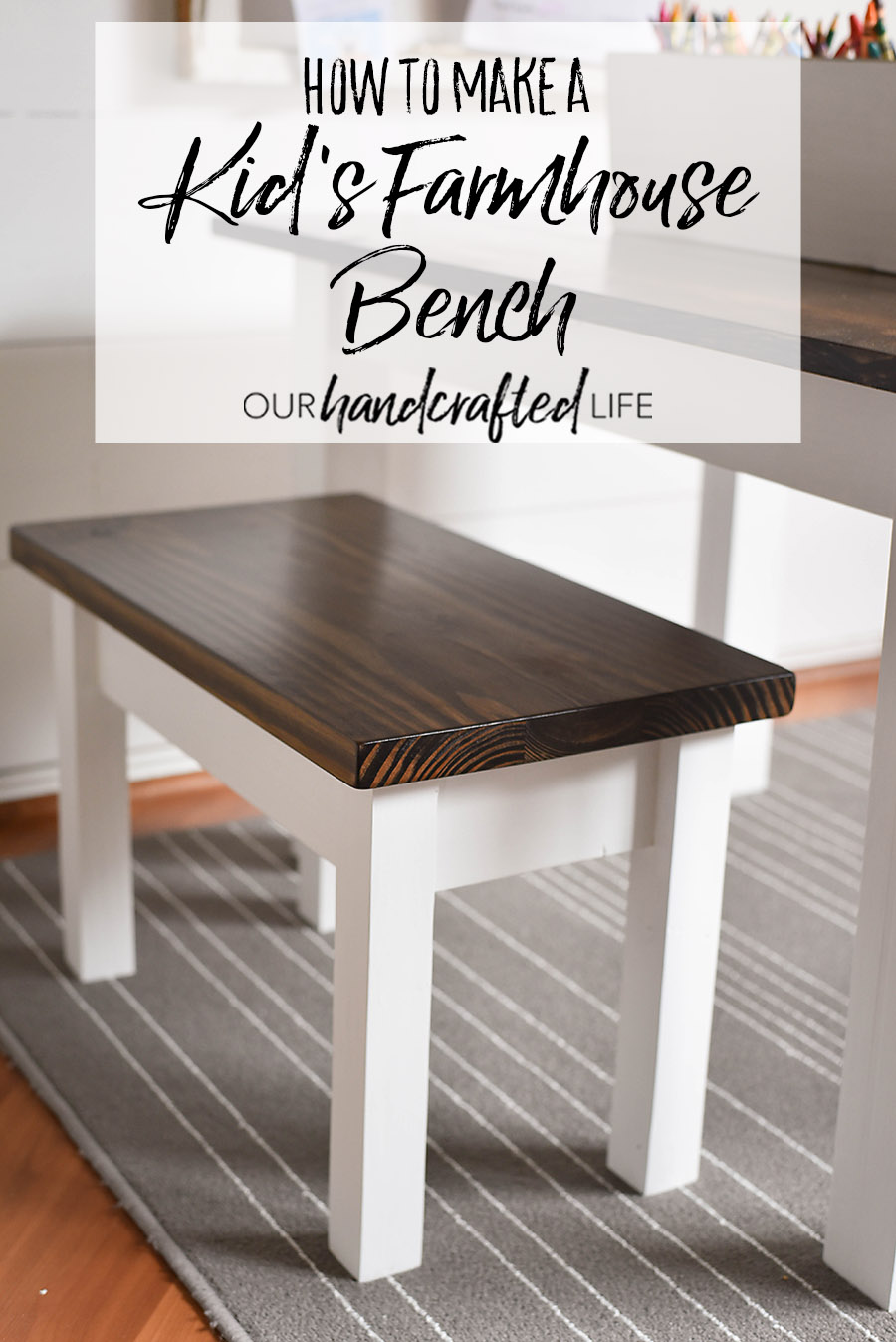 Awe Inspiring How To Make A Kids Farmhouse Bench Our Handcrafted Life Short Links Chair Design For Home Short Linksinfo
