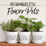 Farmhouse Style Flower Pots Inspired by Rae Dunn