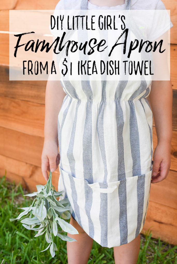 Little Girl's Farmhouse Apron from an Ikea Dish Towel - Our Handcrafted Life