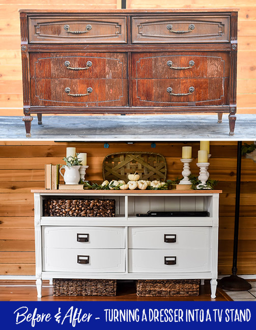 How to Turn a Dresser into a TV Stand - Our Handcrafted Life