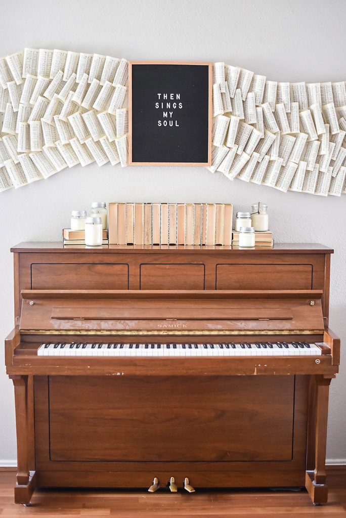 Living Room Renovation - Piano and Hymnal Wall Art Instillation - Our Handcrafted Life