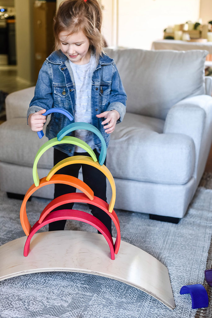 Grimm's Wooden Rainbow - Fewer Better Toys Gift Guide for Intentional and Purposeful Toys - Our Handcrafted Life