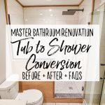 Master Bathroom Tiled Walk In Shower Renovation Bath Tub to Walk In Shower Conversion - Our Handcrafted Life