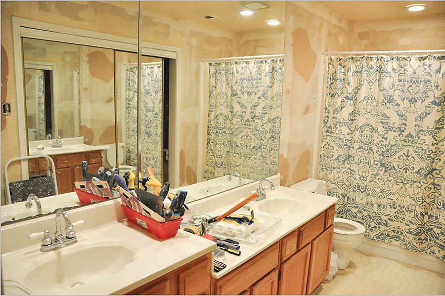 Master Bathroom Tiled Walk In Shower Renovation Before - Our Handcrafted Life