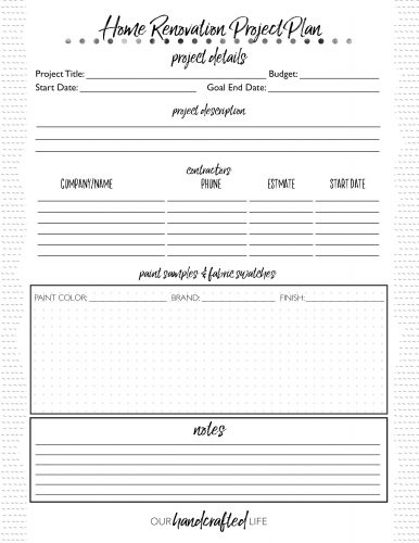 Home Renovation Project Planner - Our Handcrafted Life