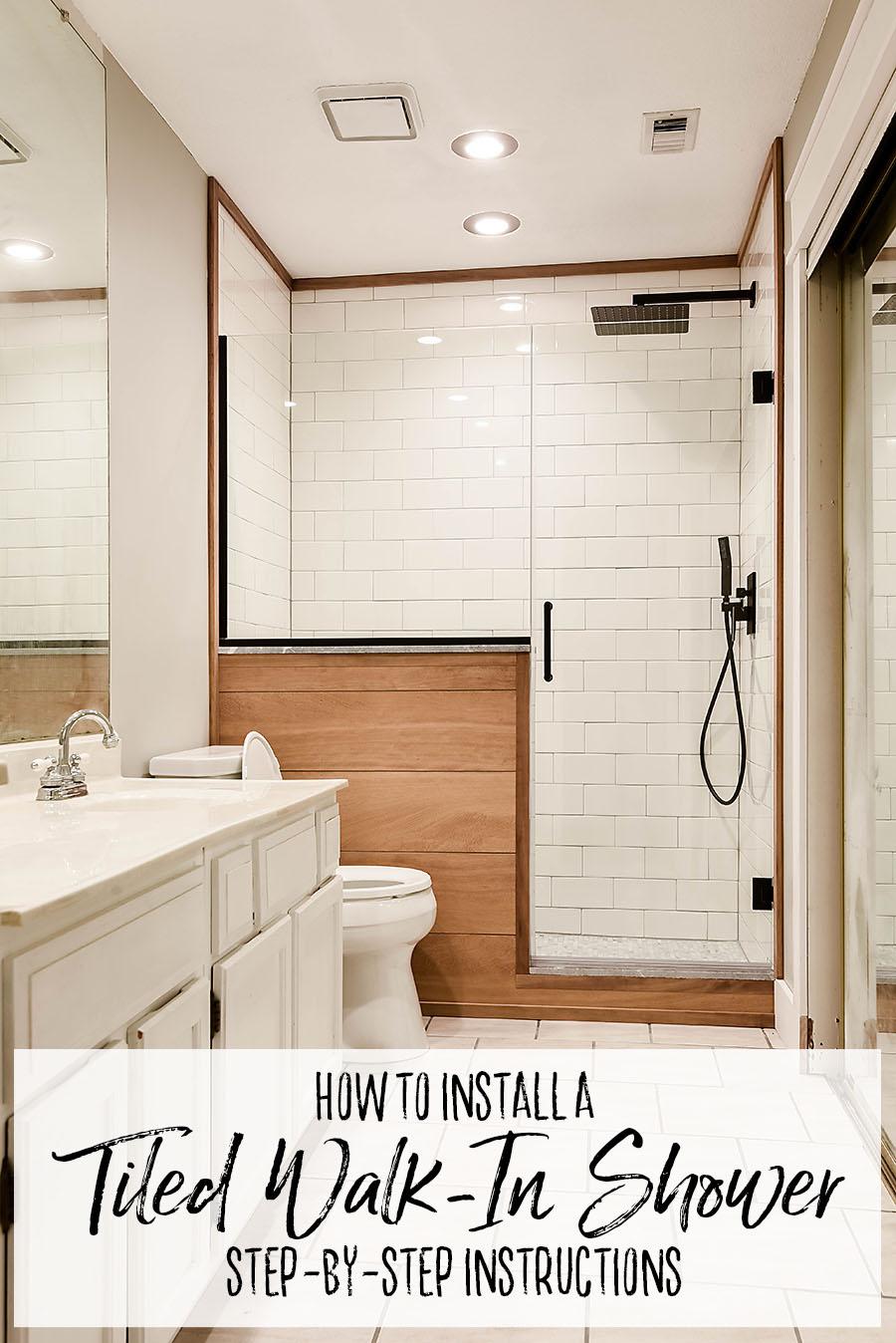 tile walk in shower