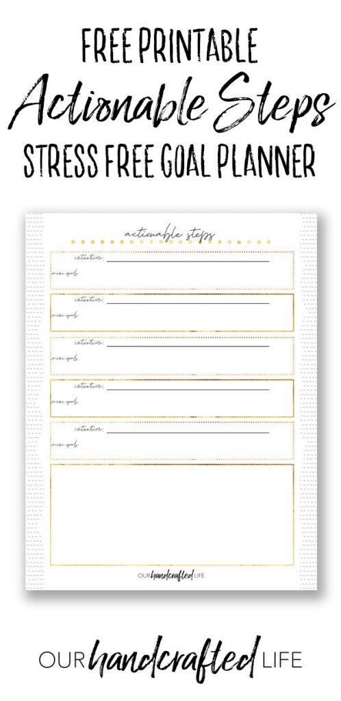 Actionable Steps Goal Setting - Our Handcrafted Life Pinterest