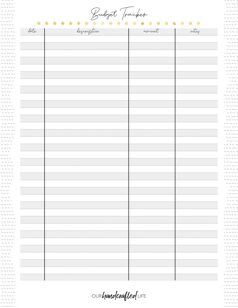 Budget Tracker - Easy Goal Setting Planner - Gentle January - Our Handcrafted Life
