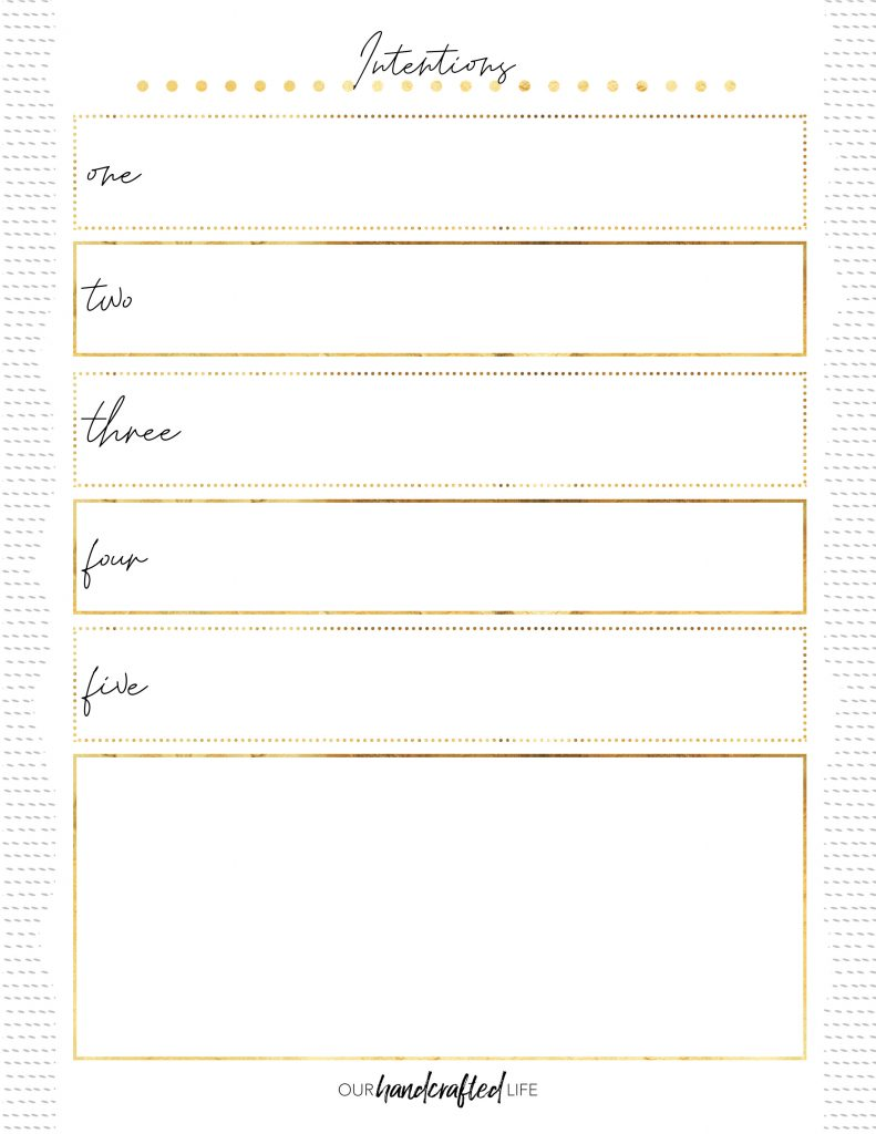 Intentions - Easy Goal Setting Planner - Gentle January - Our Handcrafted Life
